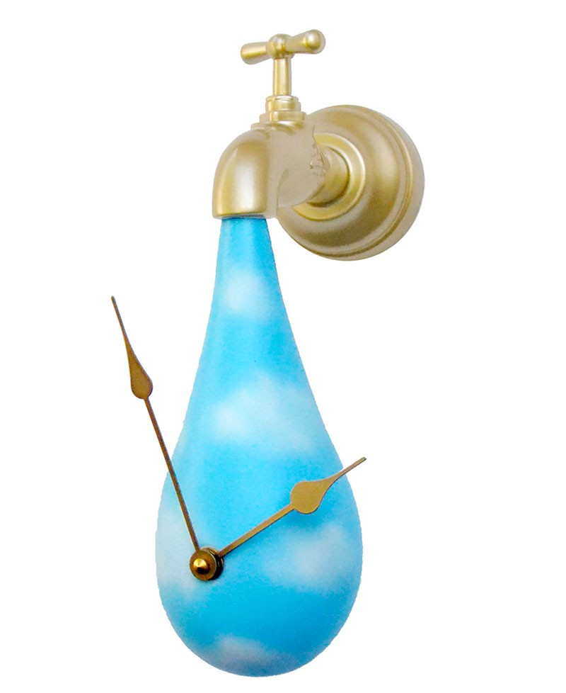 Wall clock, tap with water drop. Antartidee