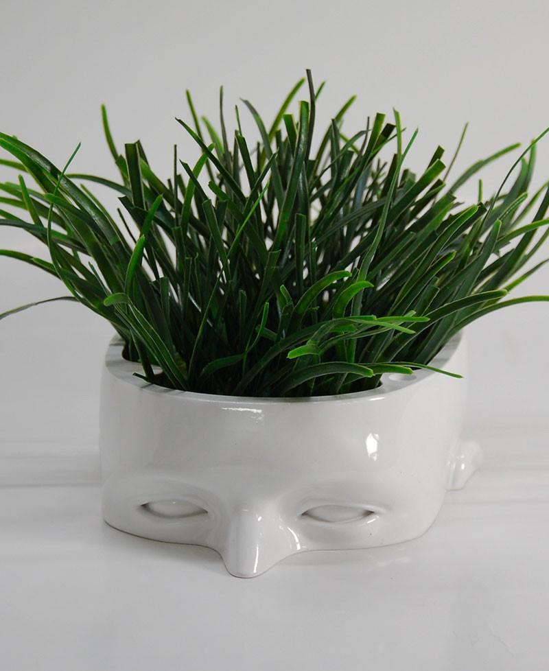 WODY VASE Flower pot, man's head shaped Handicraft product in Italy, Antartidee