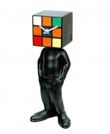 CUBIC MAN CLOCK Table clock, human figure with a cube head German UTS quartz clock mechanism. Antartidee