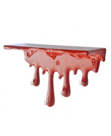 Dripping shelf, wall shelf with hooks, red, Antartidee