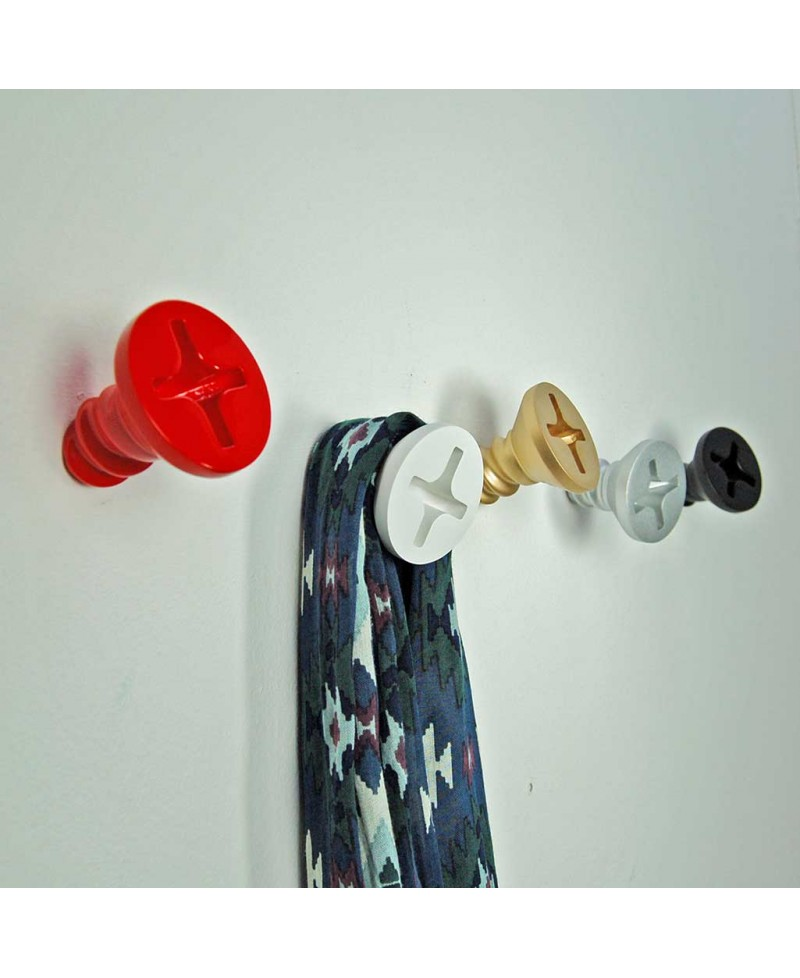 TWISTED SCREW HANGER. Wall coat-stand Hand painted resin. Made in Italy by Antartidee