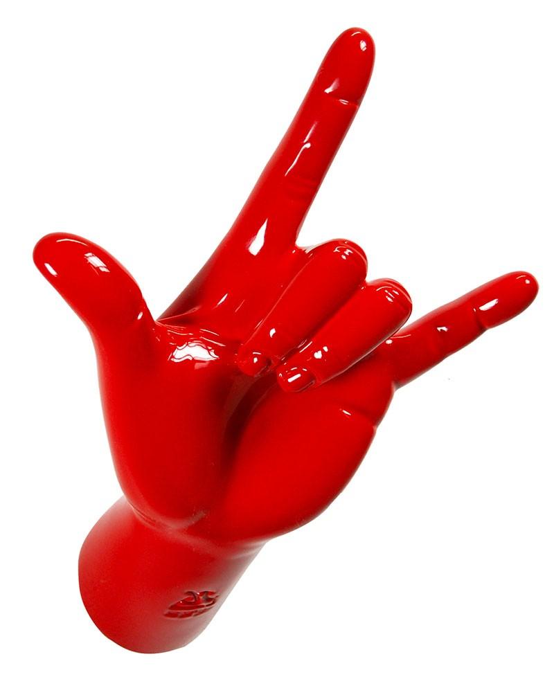 """Appendiabiti a forma di mano con gesto """"corna rock"""". Colore rosso, Antartidee"""